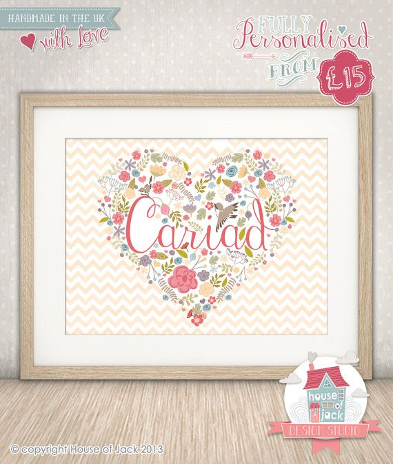 Personalised Art Print - Welsh Words - Cariad | doodle art ...