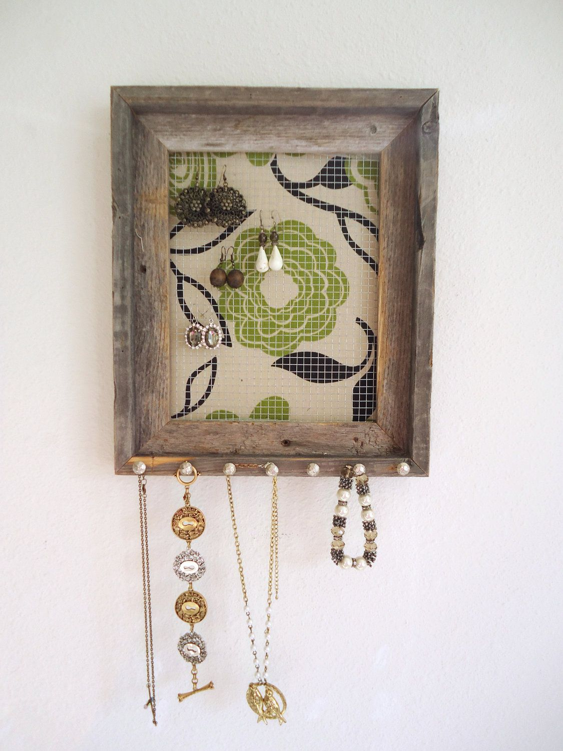 Jewelry Holder Organizer Distressed Barn wood by TheHopeStack