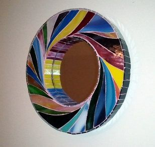 Stunning Stained Glass Work 12 Inch Swirl Mosaic Stained Glass Mirror By Scottmosaics On Et Stained Glass Mosaic Mosaic Stained Mosaic Mirror Frame