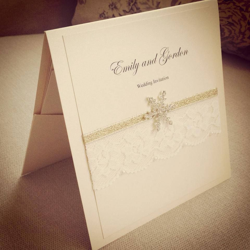 Beautiful Christmas pocketfold wedding invitations with lace and ...