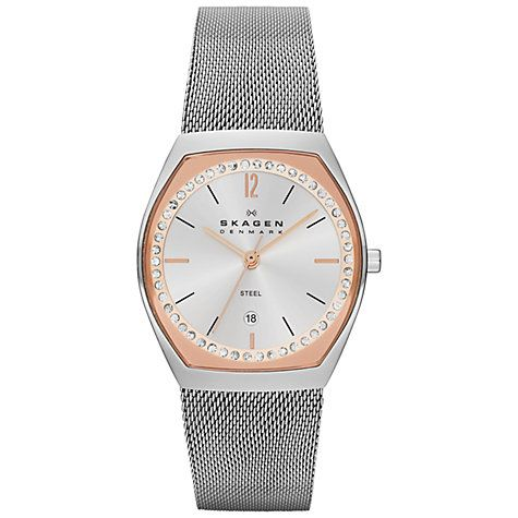 92bb42774f08 Buy Skagen SKW2050 Women s Two Tone Crystal Mesh Bracelet Watch Online at  johnlewis.com