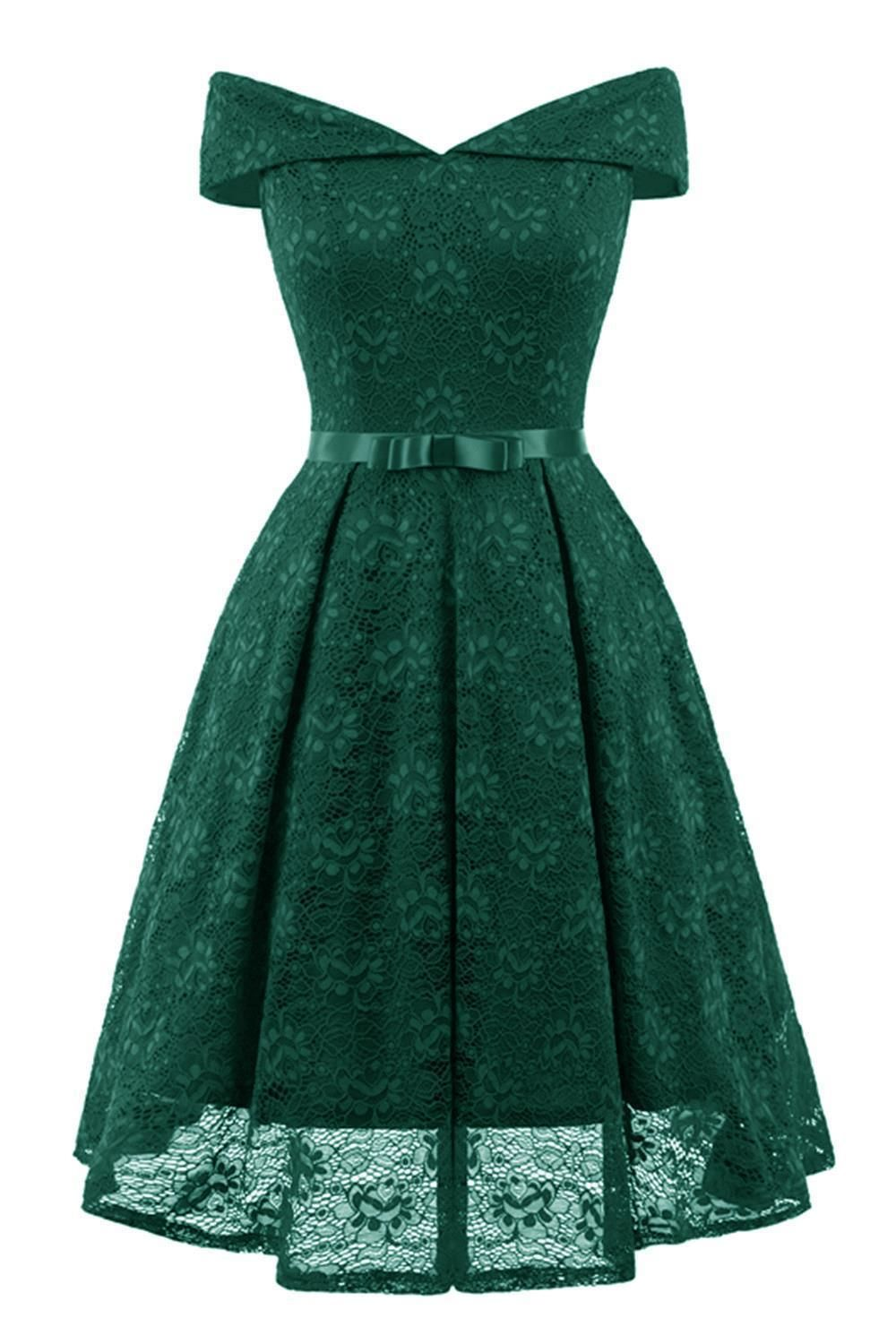 28afc6264215 Green Lace Off Shoulder Draped Bow Elegant Party Midi Dress