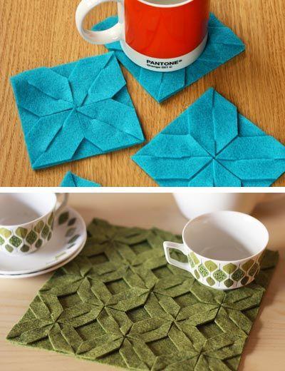 crafty ideas modern coasters. DIY Modular Felt Trivet and Coasters  Felting Craft