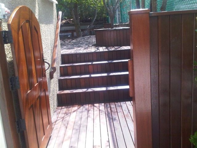 Exotic Hardwood Decking, Fencing, and Gate all supplied by Kayu Canada Inc.