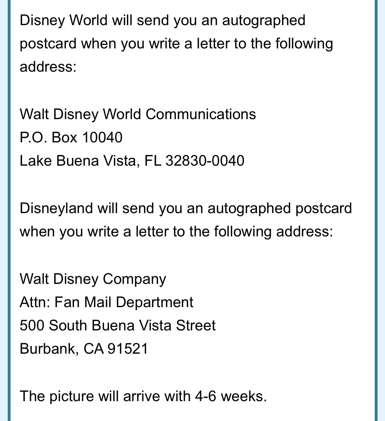 Write Disney A Letter  Handy Tips