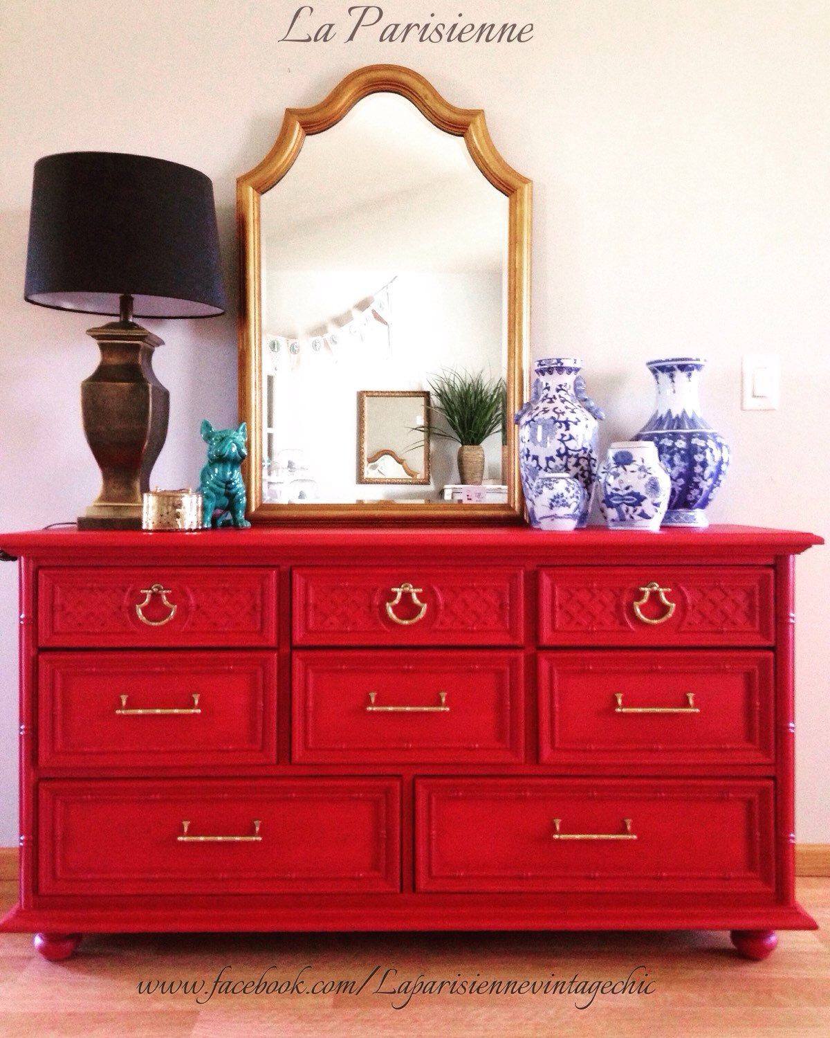 Etsy Vintage Bamboo Furniture: SOLD Red Dresser, Vintage Dresser, Asian Inspired Dresser