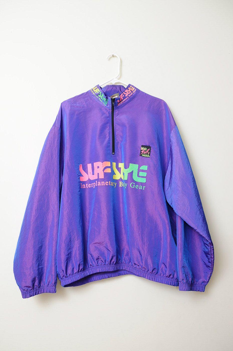 b26eea64a260 Vintage 80s 90s Neon Surf Style Pullover Windbreaker Jacket ...
