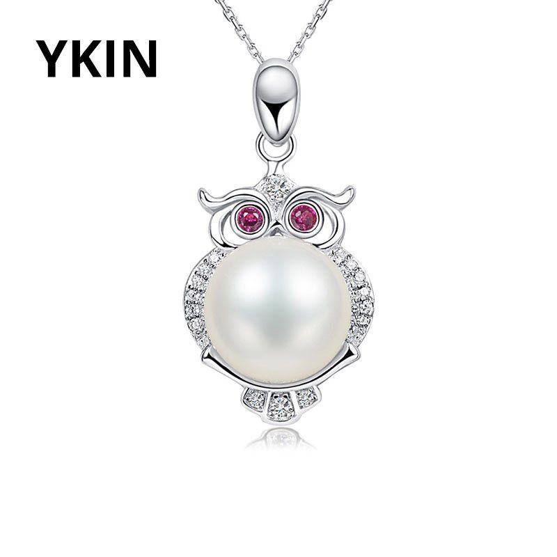 YKIN 925 Sterling Silver Owl Pearl Pendant 100% Natural Freshwater Pearl For Women Fashion Sterling-silver-jewelry