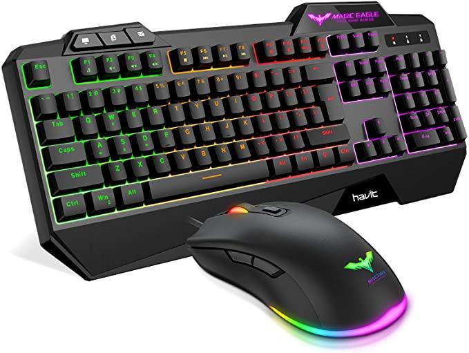 Amazon Com Havit Wired Gaming Keyboard Mouse Combo Led Rainbow Backlit Gaming Keyboard Rgb Gaming Mouse Ergonomic Wrist Rest 104 Ke Keyboard Mac Pc Wrist Rest