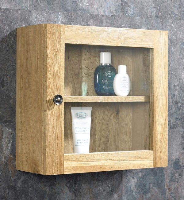 Solid Oak Wall Hung Single Door 38cm Square Bathroom Glass Cabinet In 2020 Wall Mounted Bathroom Cabinets Glass Bathroom Oak Bathroom Cabinets