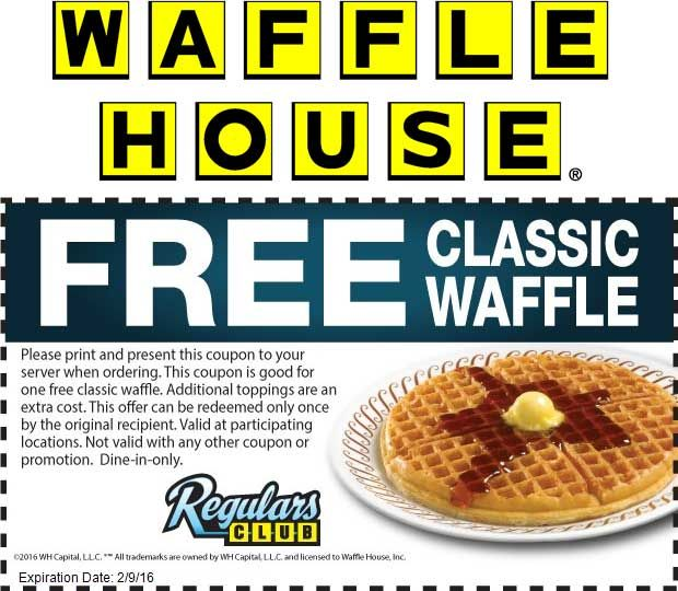 Free Waffle At Waffle House Waffle House Waffles Shopping Coupons