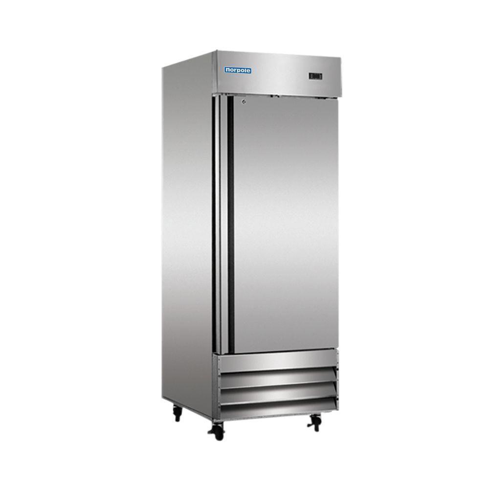 Norpole 23 Cu Ft Commercial Refrigerator In Stainless Steel Silver Solid Doors Steel Doors Single Doors