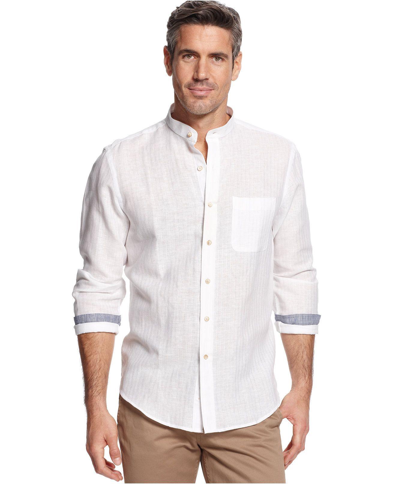 Tasso Elba Island Banded Collar Textured Striped Shirt - Casual ...