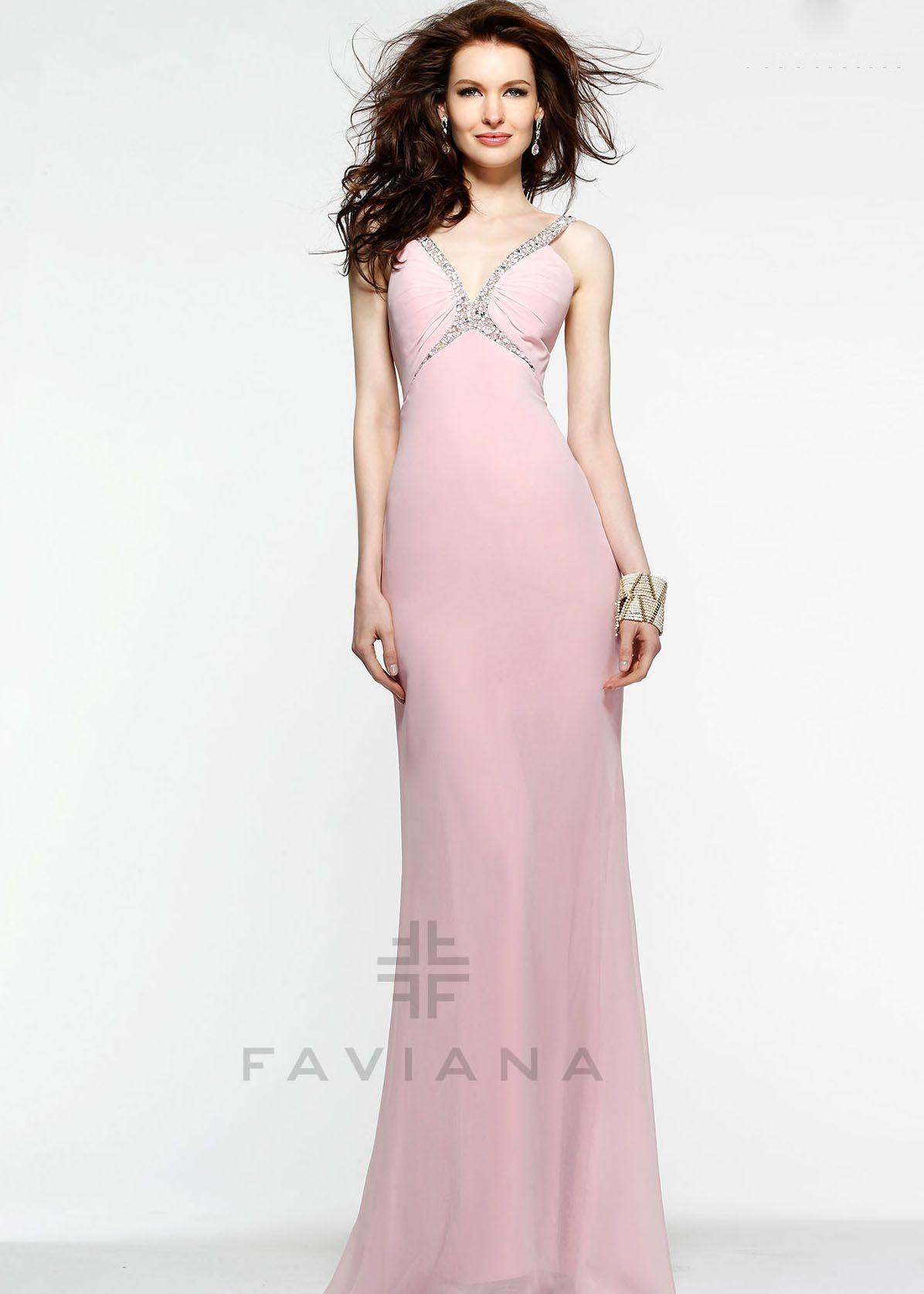 Faviana blush beaded chiffon halter prom dresses online