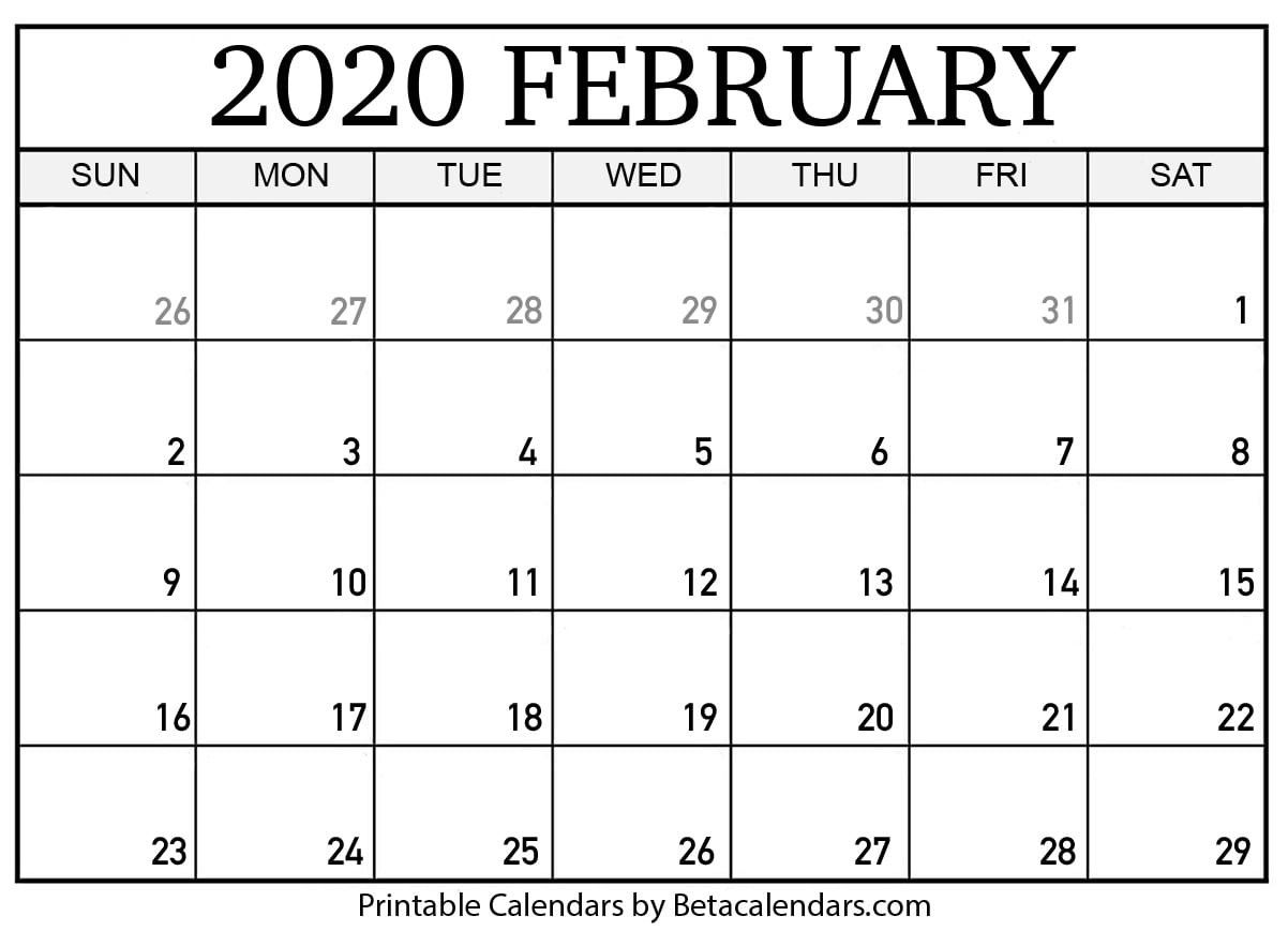 New Blank February 2020 Calendar Printable Calendar Printables