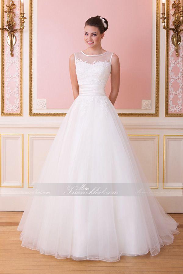 Prinzessin Boot-Ausschnitt Tüll traumhaftes Brautkleid mit Kapelle ...