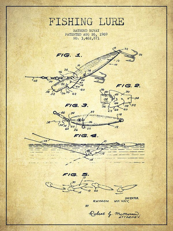 Vintage Fishing Lure Patent Drawing From  Poster By Aged Pixel