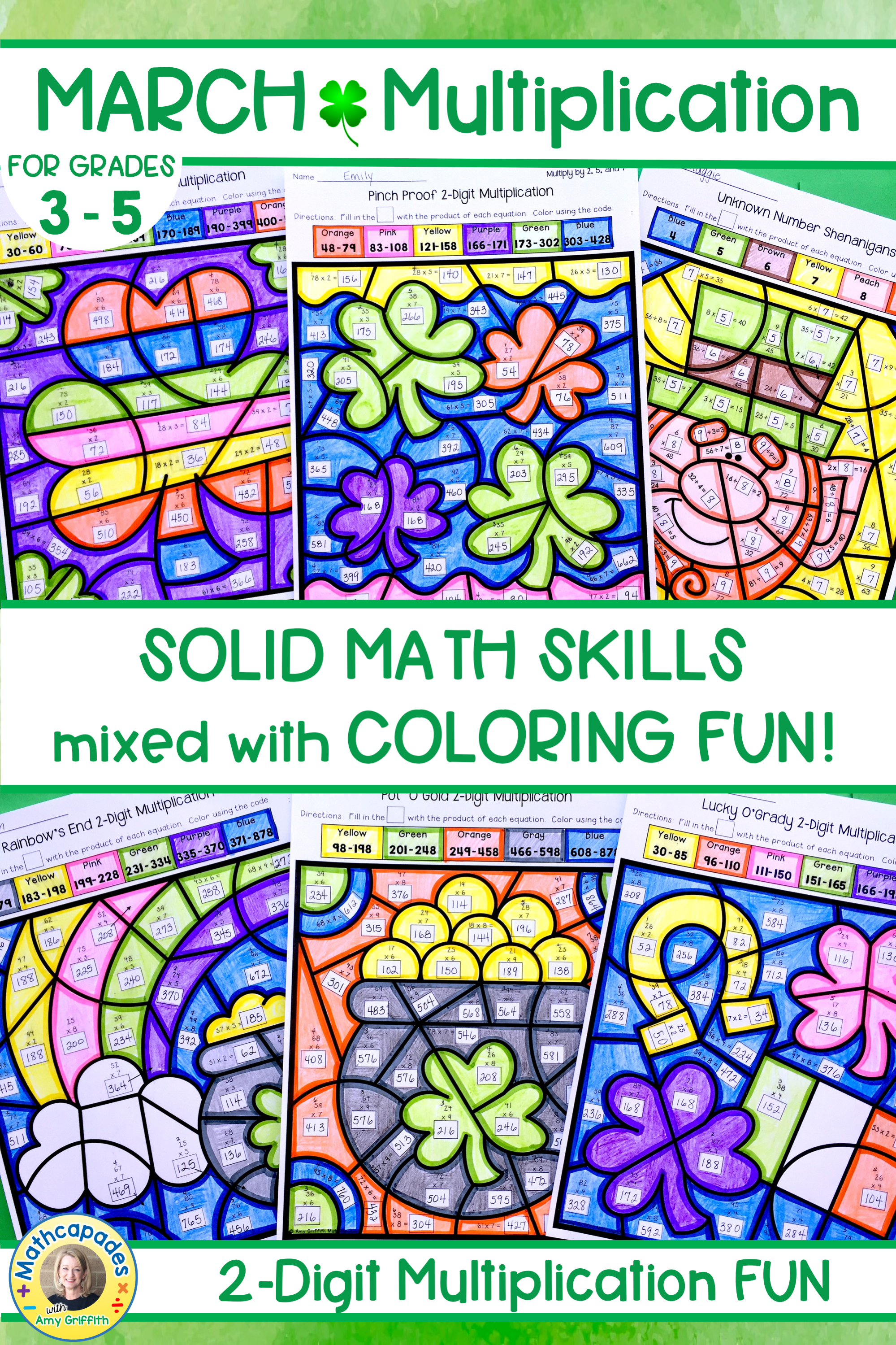 St Patrick S Day 2 Digit Multiplication Color By Number Activities Are Fun For 3rd 4th And 5th Grade Multiplication Upper Elementary Math Multiplication Fun [ 2999 x 1999 Pixel ]