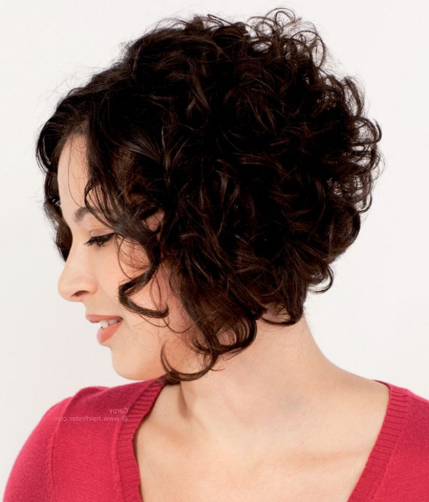 short curly stacked bob hairstyles fullness for curly hair with an a