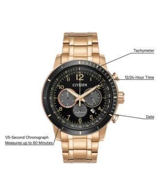 59433b1466c5 Citizen Men s Eco-Drive Chronograph Rose Gold-Tone Stainless Steel Bracelet  Watch 44mm CA4359-55E - Gold
