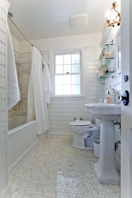 Great Cottage Full Bathroom With Tiled Wall Showerbath Penny Tile Floors In West Palm Beach White Tile Bathroom Floor Bathroom Floor Tiles Floor Tile Design