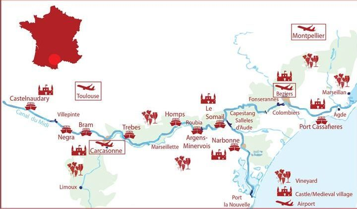 LateBoatcom Canal Du Midi area map Bziers Pinterest Canal du