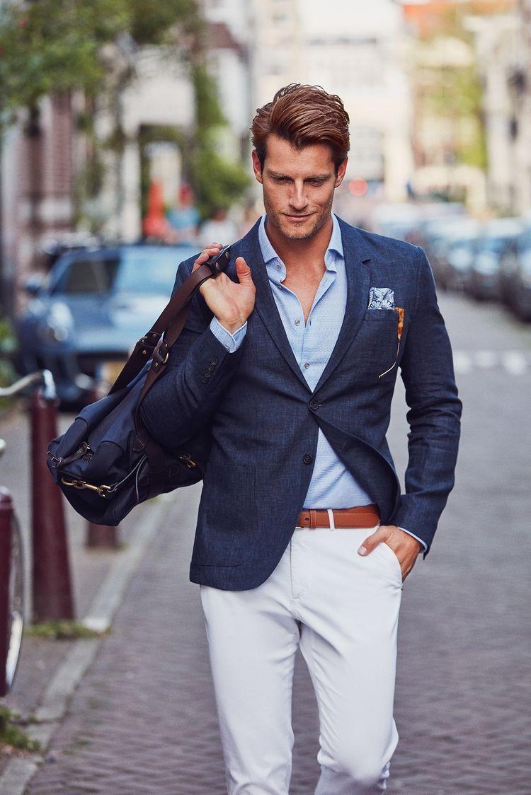 2e6d11ae682 Business casual combo inspiration with a navy blazer light blue shirt light  blue patterned silk pocket