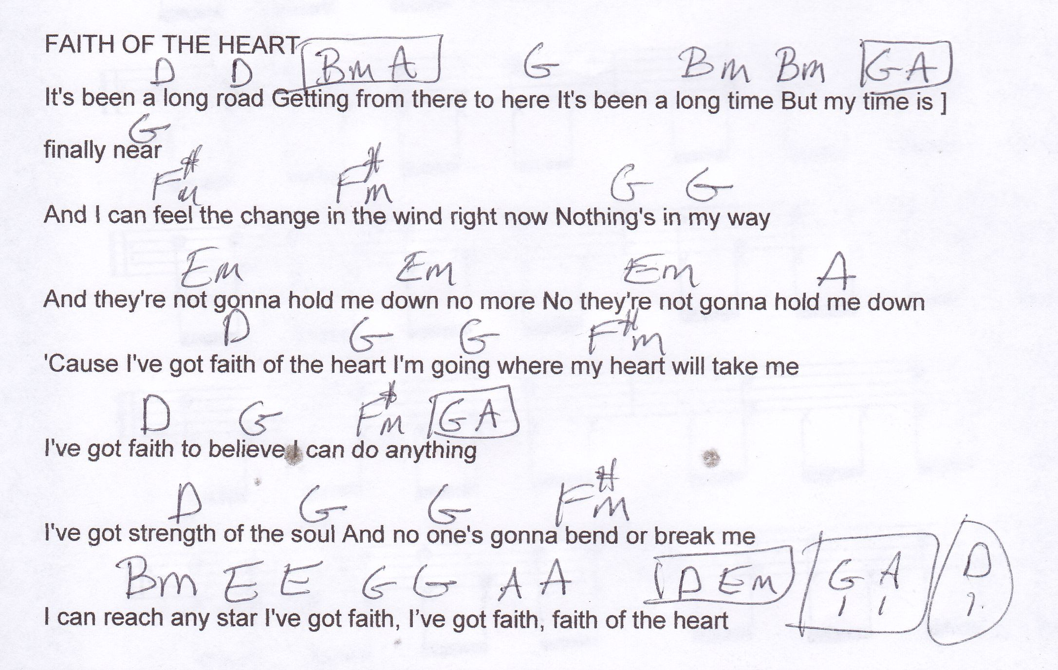 Faith Of The Heart Guitar Chord Chart In D Major Guitar Lesson
