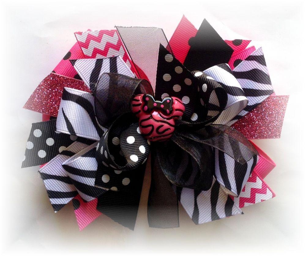 Minnie Mouse Fuchsia Pink Zebra 5-5 1//2 Inches Custom Boutique Hair bow