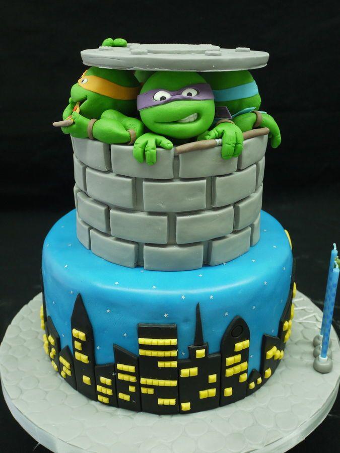 Teenage Mutant Ninja Turtles Cake Ideas Ninja turtle party Turtle