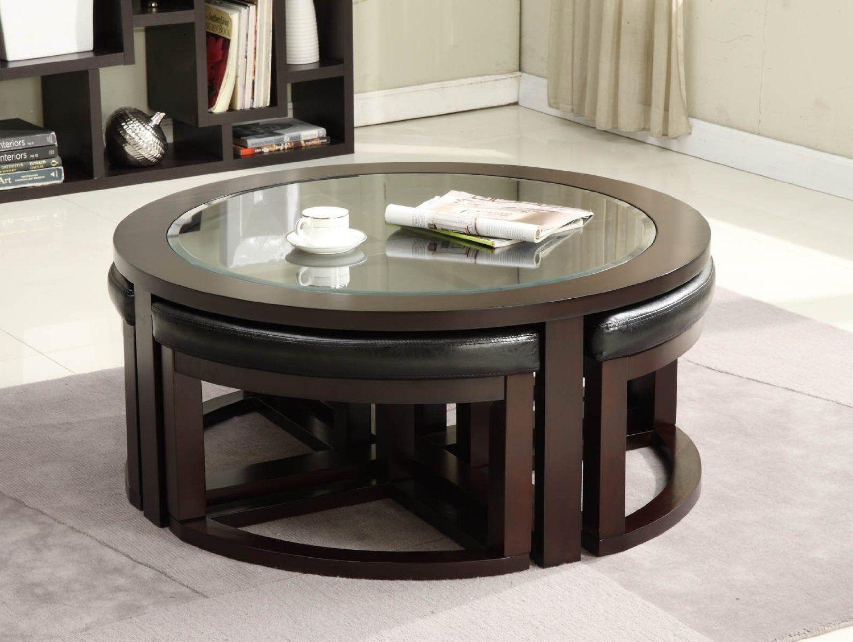 Round Coffee Table With Hidden Chairs Muebles Disenos De Unas Sillas