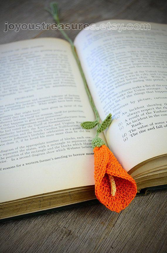 Handmade Bookmark Crochet Orange Calla Lily Lesezeichen Gehäkelt