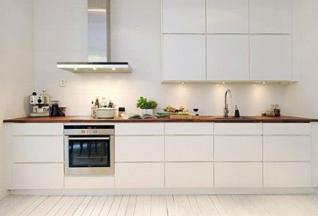 Modern kitchen white with timber bench.