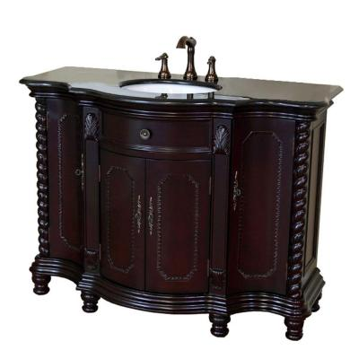 Bellaterra Home Cambridge Bg 48 In Single Vanity In Dark Mahogany With Granite Vanity Top In Black Gala Granite Vanity Tops Single Sink Vanity Bellaterra Home