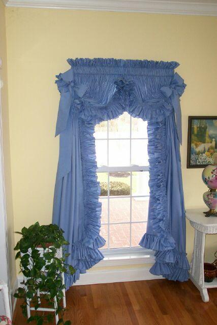 Priscilla Curtains Ruffle, Blue Priscilla Curtains