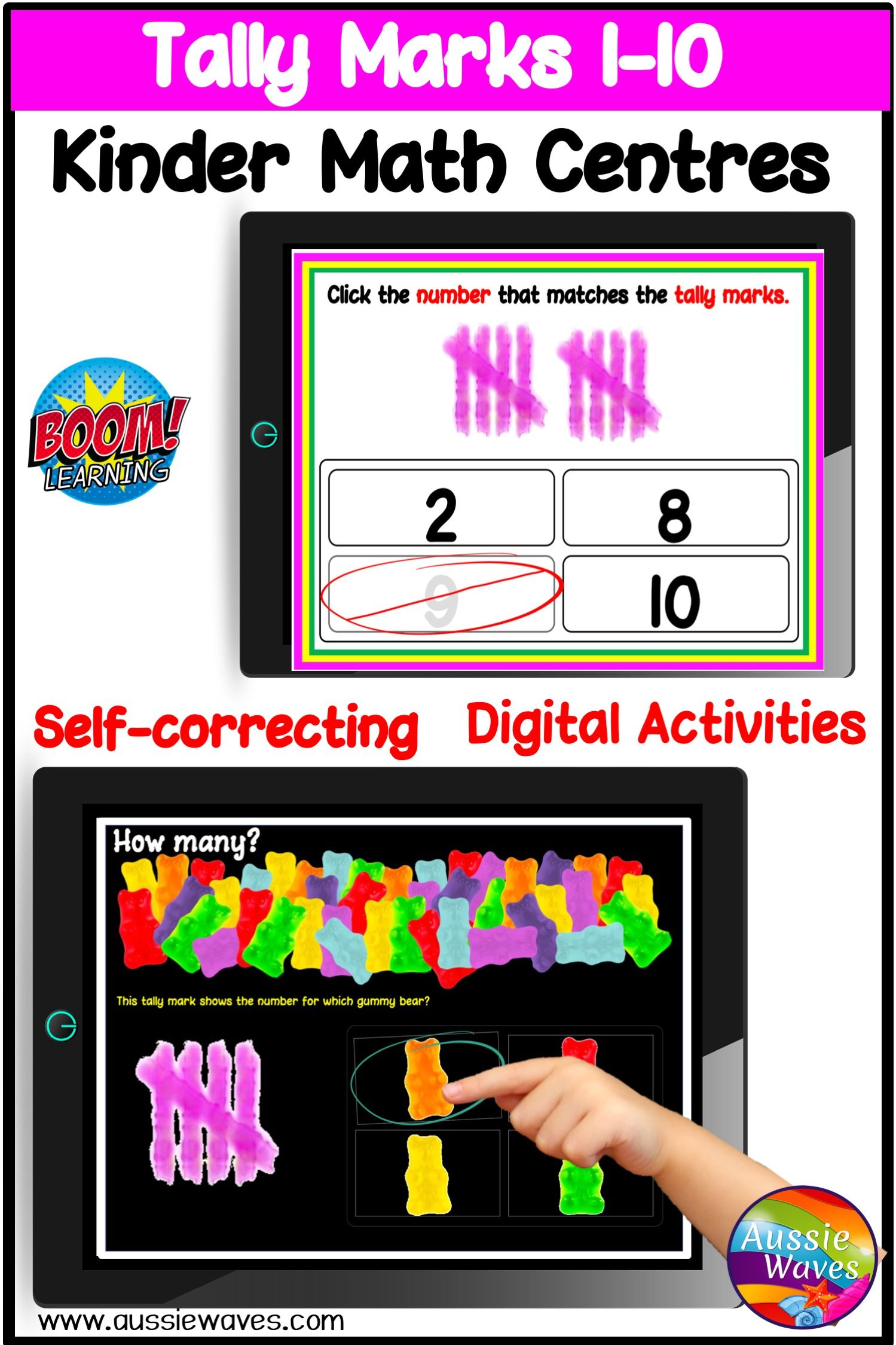 Kinder Math Tally Marks Activities 0 10 Digital Task Cards