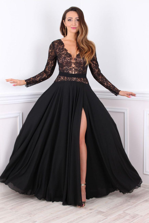 12 Abendkleid Spitze Lang in 12  Abendkleid, Abendkleid schwarz