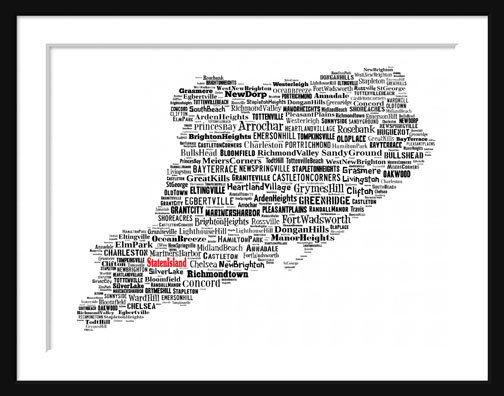 Staten Island New York Map Typography Map Poster Print Staten