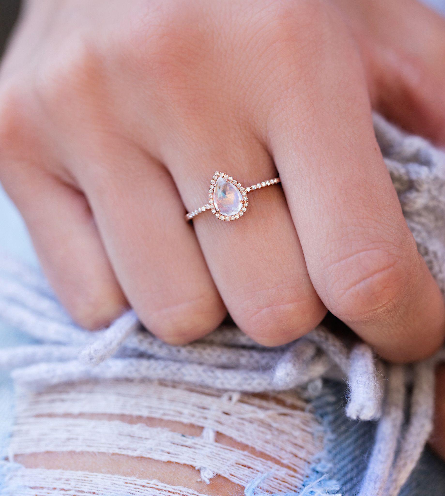 14kt Gold And Diamond Single Band Teardrop Moonstone Ring Trending Engagement Rings Wedding Rings Teardrop Moonstone Engagement Ring