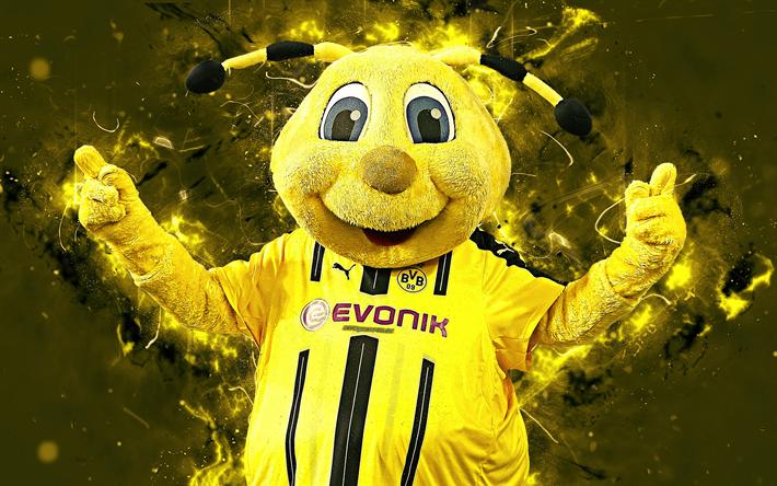 Download Wallpapers Emma 4k Mascot Borussia Dortmund Abstract Art Bundesliga German Football Club Bvb Creative Official Mascot Neon Lights Borussia D Dortmund German Football Clubs Mascot