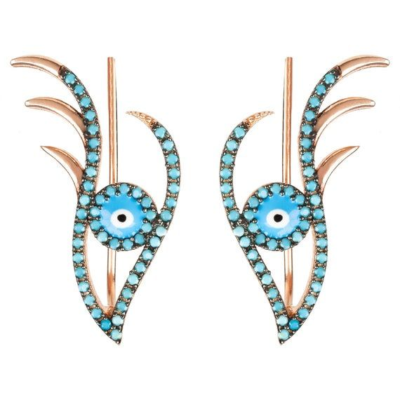 Photo of Evil Eye Ear Climber Earrings Blue Turquoise Pink Rose Gold Cuff Latelita silver