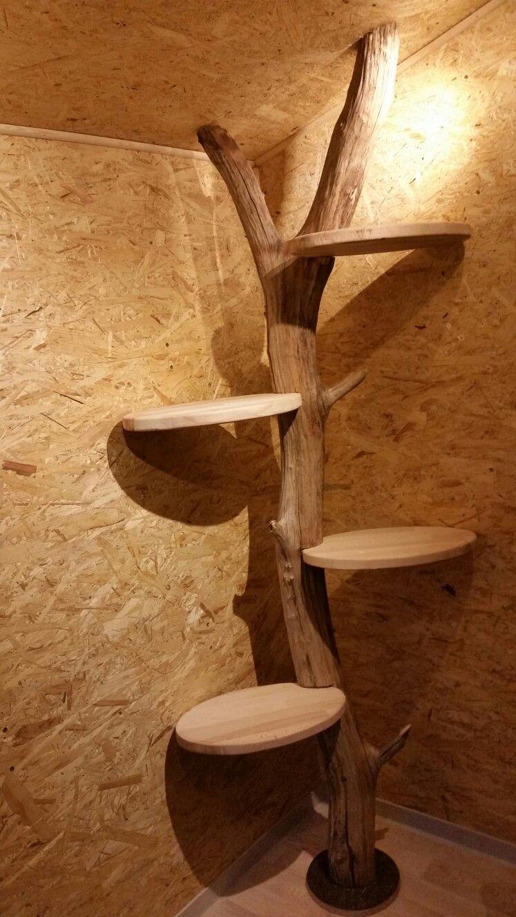 Pin Von Becky Auf Baumstamm Regal Regal Holz Bauen Mit Holz Wandverkleidung Innen