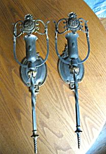 Antique aged brass wall sconces for sale at More Than McCoy on TIAS!
