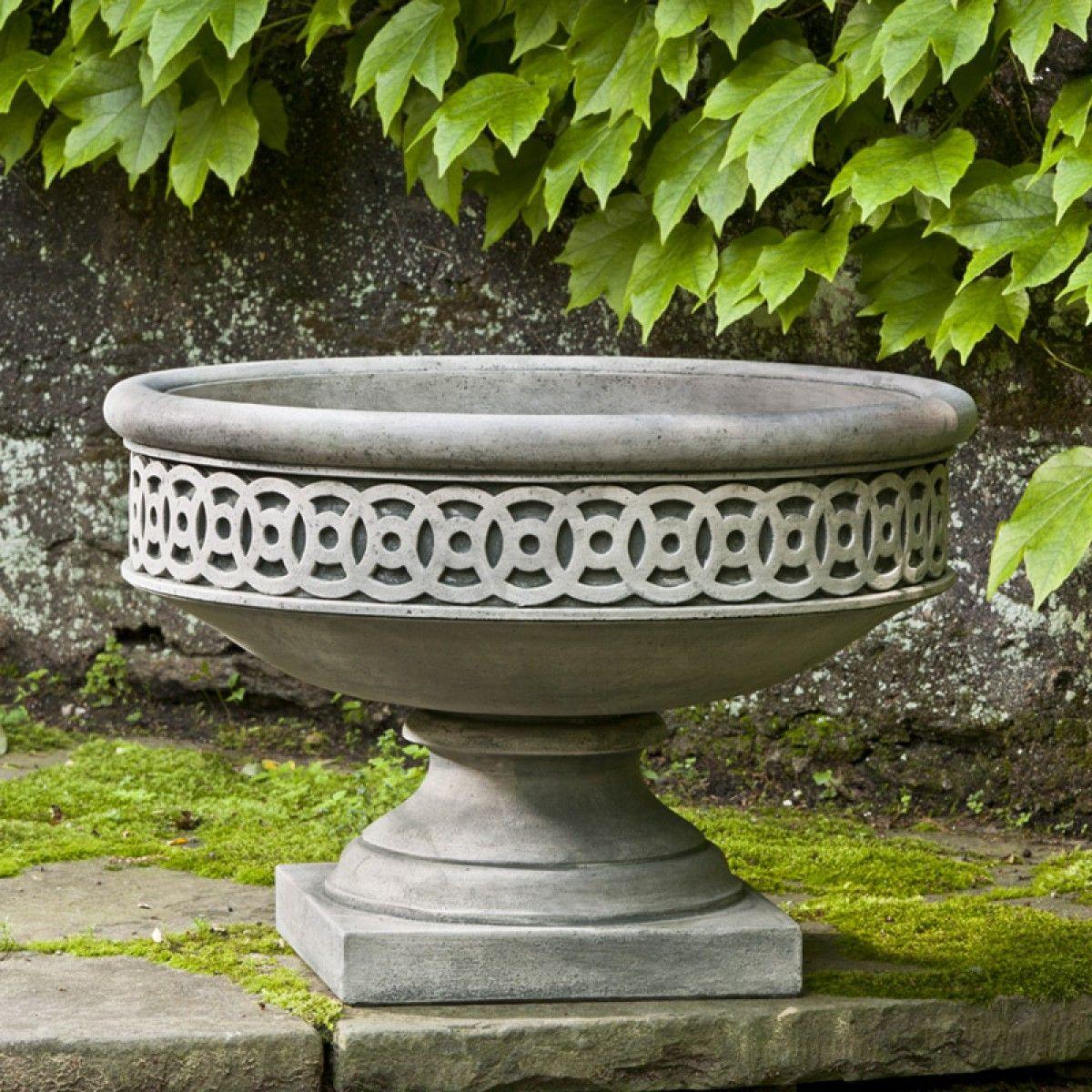 Williamsburg Low Fretwork Urn Concrete Cast Stone Planters Products Urn Planters Stone Planters Garden Urns