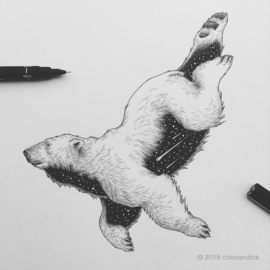 Ink Drawings of Astral Animals