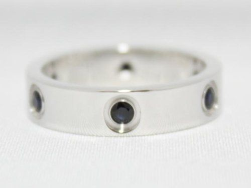 100% AUTHENTIC *CARTIER* 18K WHITE GOLD 6 BLACK SAPPHIRE LOVE RING, MENS SIZE 61 ***VERY RARE*** LIMITED EDITION*** Made in FRANCE