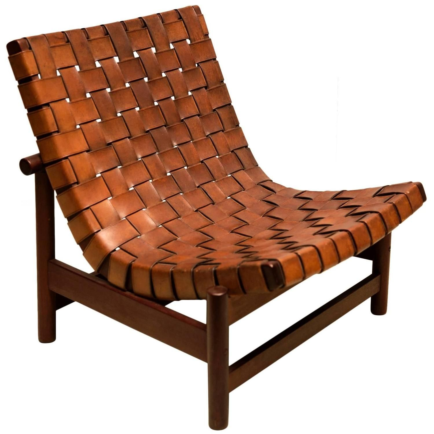 1950s Lounge Chair In Woven Saddle Leather And Cuban Mahogany By Dujo, Cuba  | From A Unique Collection Of Antique And Modern Lounge Chairs At ...