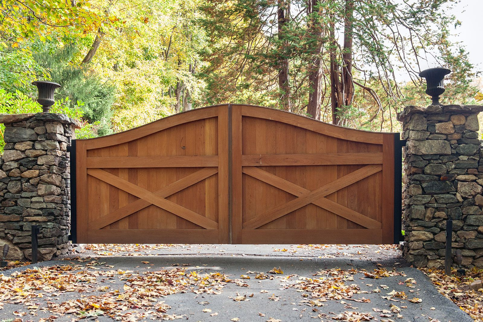 Gorgeous Cedar Wood Farmhouse Design Driveway Gate With Custom Stone