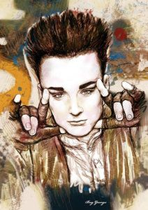 David Bowie Drawing - Boy George Stylised Drawing Art Poster by Kim Wang