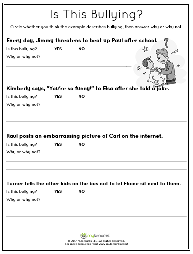 Unusual bullying worksheets for elementary students ideas